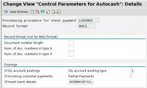 Lockbox control parameters for SAP FICO
